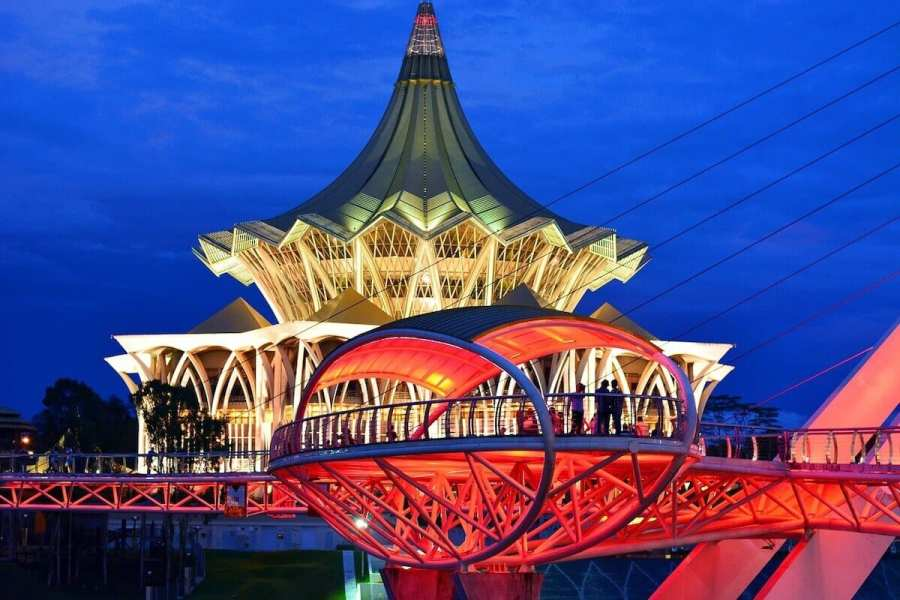 Kuching at night-Places to go in Malaysia