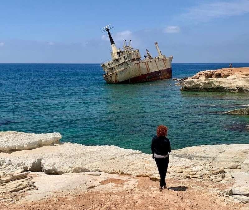 Me with shipwreck Cyprus