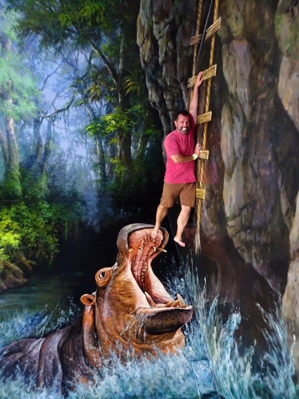 Mark being eaten by at hippo at 3D Art museum Langkawi Itinerary