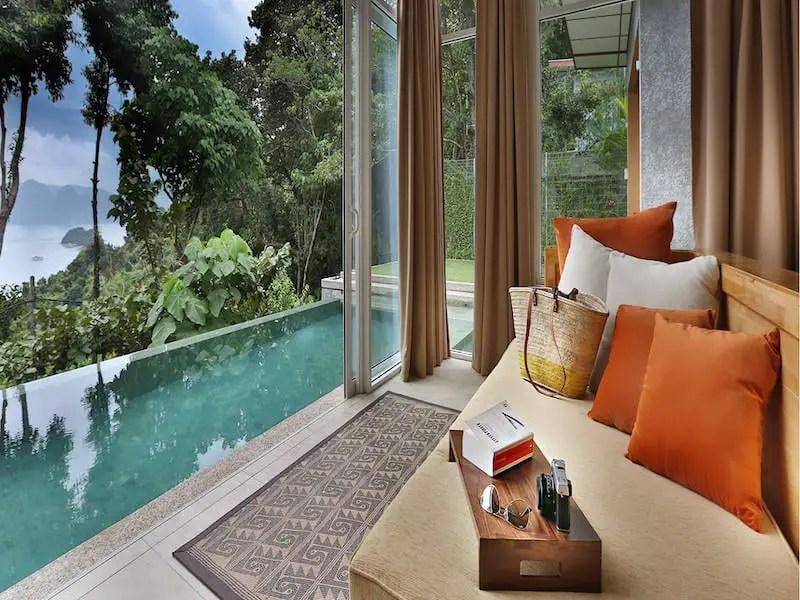 Ambong Ambong villa room view with pool