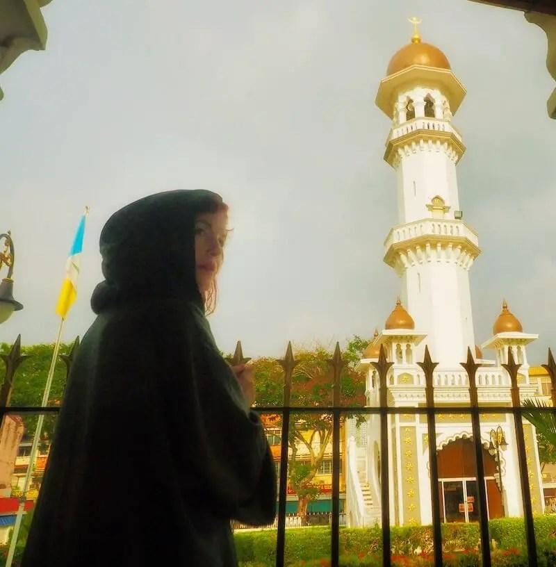 Me in Kapitan Keling Mosque wearing a green robe