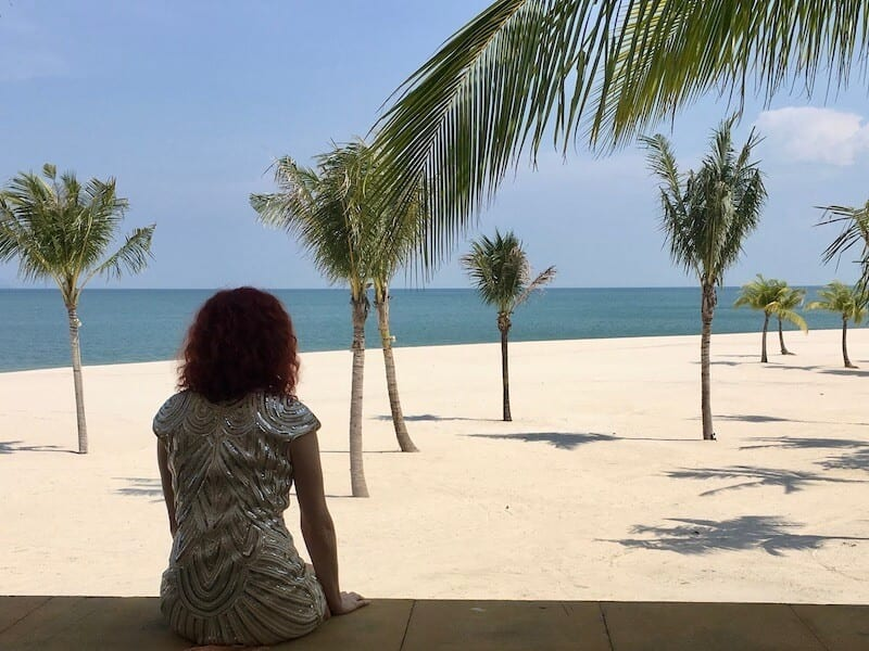 me looking out at the beach in Langkawi