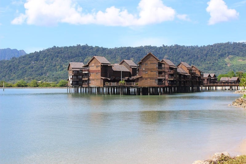 Wooden homes on stilts over water in Malaysia