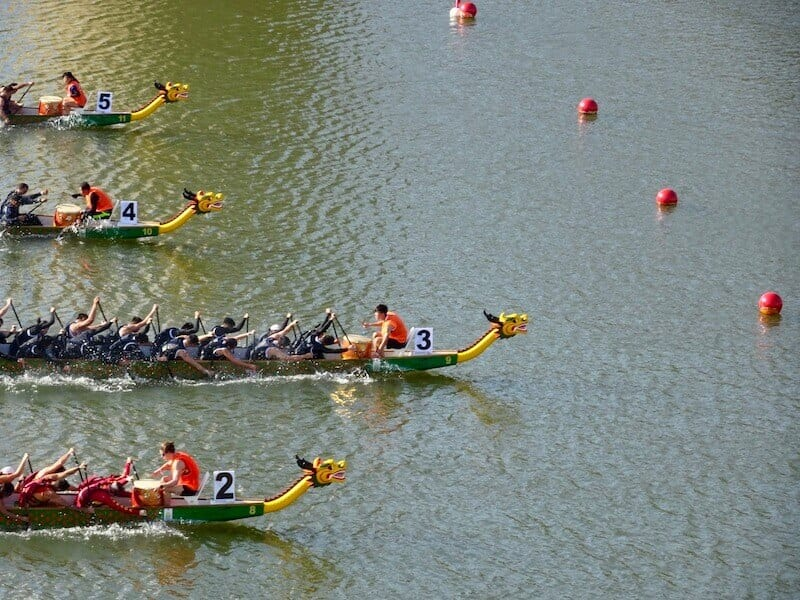 Dragon boat competition in Penang in one of theFestivals of Malaysia