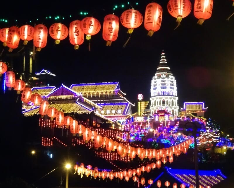 Kek Lok Si temple illuminated at night