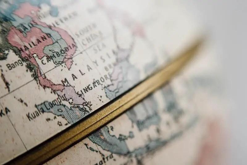 globe close up of malaysia