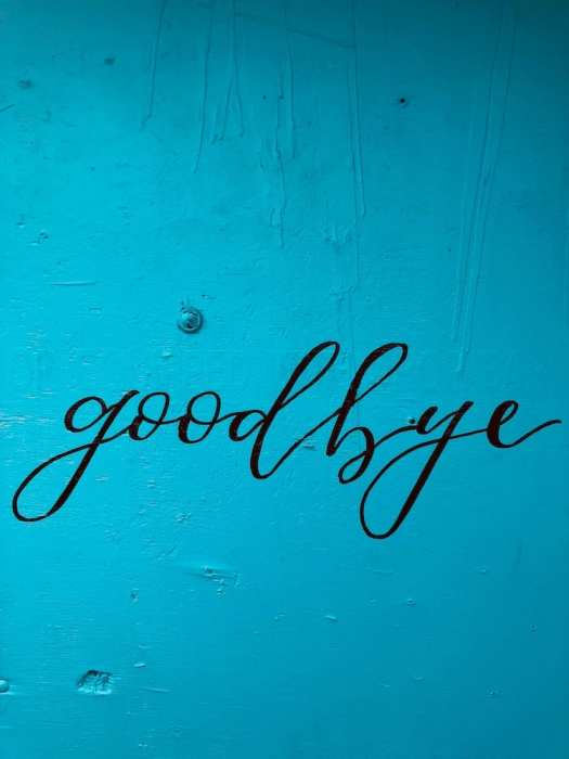 blue background with script goodbye
