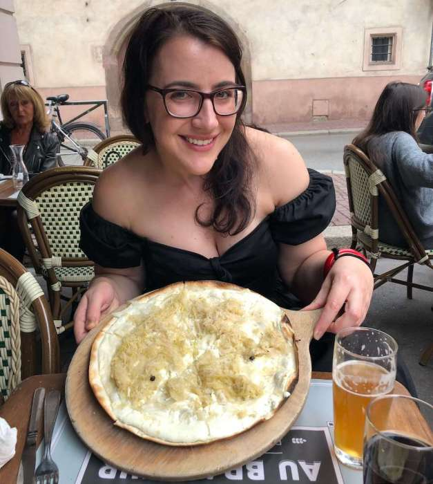 Carlie dining in Strasbourg
