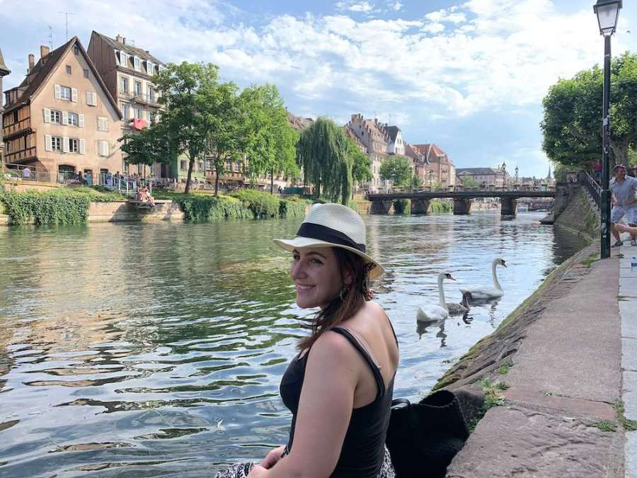 Carlie along the river living in Strasbourg