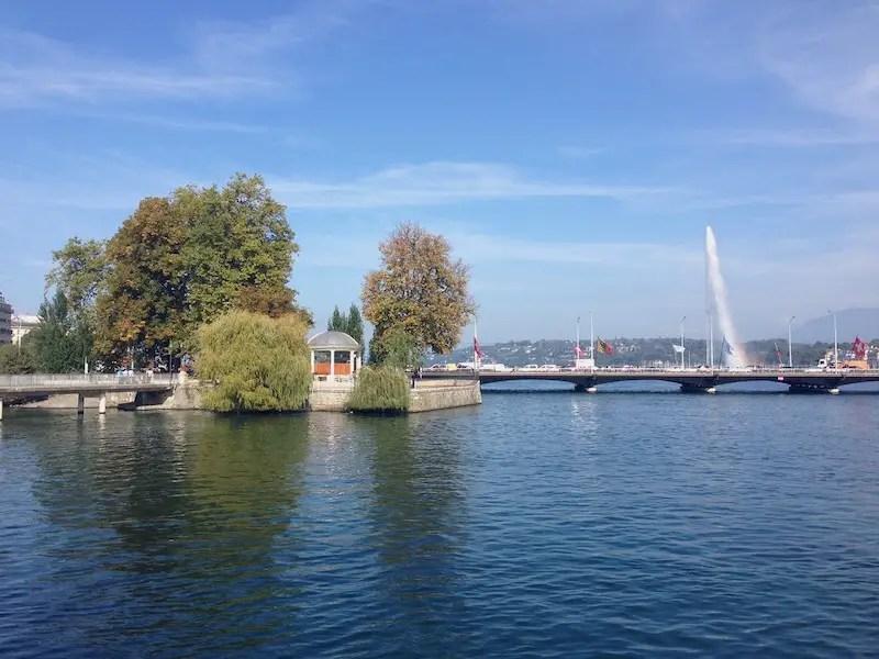 downtown Geneva, Switzerland. Water, fountains a pretty landscape