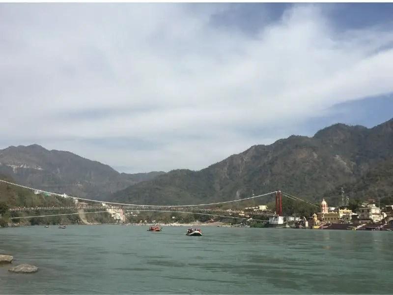 Rishikesh, India. Boats and mountains