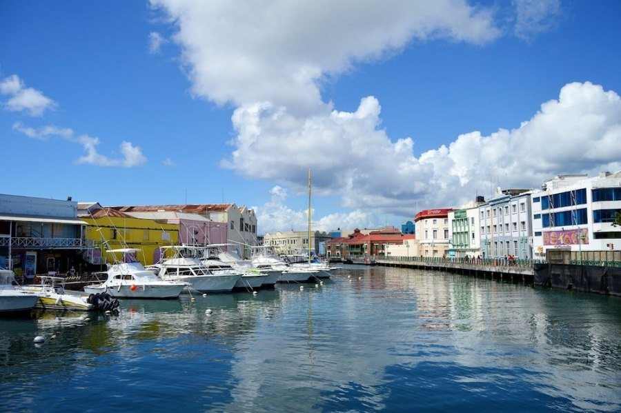 Colorful buildings with boats along the canal, barbados