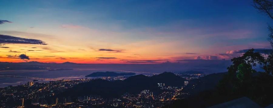 sunset landscape over penang
