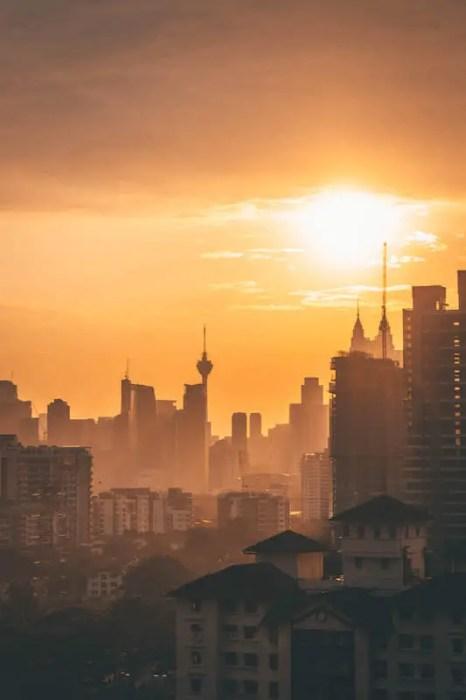 Kuala Lumpur with an orange sunset