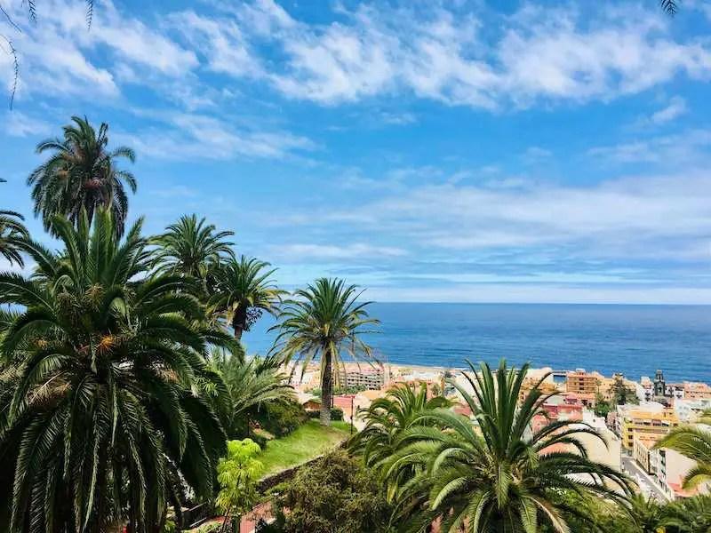 Spanish coastline palm trees blue skies