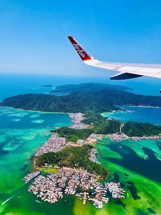 view of the green and blue ocean around Kota Kinabalu