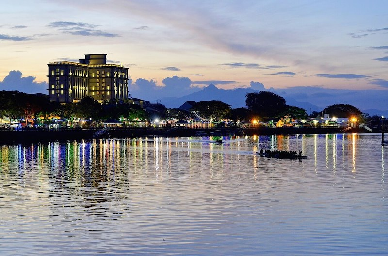 Kuching river at sunset- best places to live in Malaysia