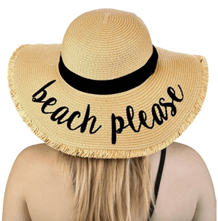 """floppy hat with the phrase """"beach please"""" on it."""