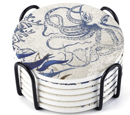 blue and white octopus coasters are a great gift for beach lovers