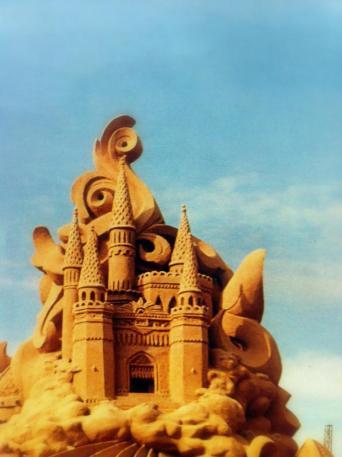 Large detailed sand castle.