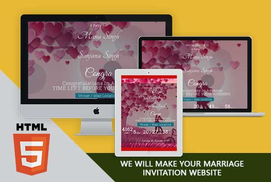 Sand It Solution will make your Marriage Invitation Website.