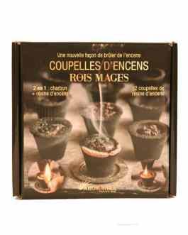 Coupelles Encens ROIS MAGES, 2 en 1  :  charbon + résine encens (prêt à brûler)