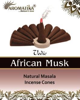 AROMATIKA CONES VEDIC MASALA AFRICAN MUSK (Musc africain) (couleurs végétales)