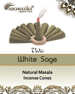 AROMATIKA CONES VEDIC MASALA WHITE SAGE  (Sauge blanche) (couleurs végétales)
