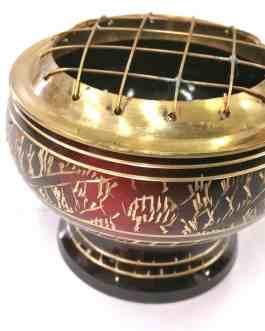 .PE25 – LAITON avec grille Rouge et Noir  – Ø 7,5cm – H 6cm