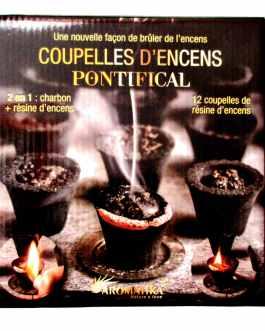 Coupelles Encens PONTIFICAL 2 en 1 : charbon + résine (prêt à brûler)
