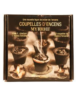 Coupelles Encens MYRRHE 2 EN 1 – charbon + résine (prêt à brûler)