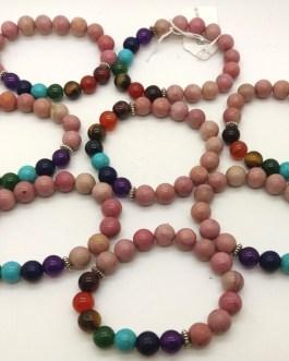 REF500A – BR. PIERRE perles 10mm – 7 CHAKRAS et RHODOCHROSITE