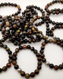 REF501A – BR. PIERRE perles 10mm avec 1 perle métal OEIL DE FAUCON
