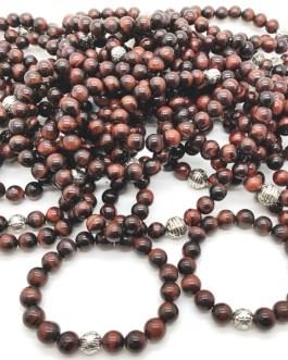 REF501A – BR. PIERRE perles 10mm avec 1 perle métal OEIL DE TAUREAU