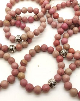 REF501A – BR. PIERRE perles 10mm avec 1 perle métal RHODOCHROSITE