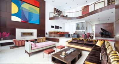 Neutral Modern Living Room with Bright MultiColored