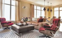 Modern Neutral Living Room with Burgundy Lounge Chairs ...