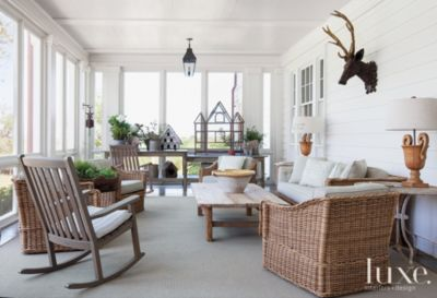 White and Cream Traditional Country Screened Back Porch
