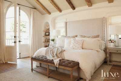 White Traditional Master Bedroom With Upholstered