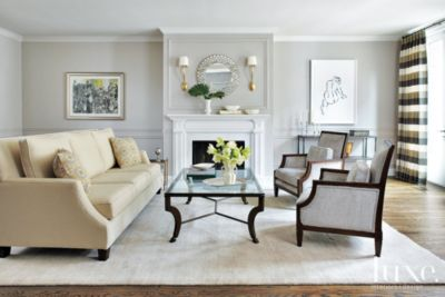 Contemporary Gray Living Room with Cream Sofa  Luxe