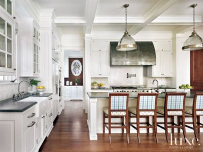 Traditional White Kitchen with Plaid Barstools  Luxe