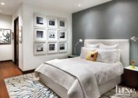 White Master Bedroom With Gray Accent Wall