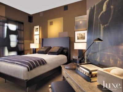 Eclectic Brown Bedroom with MultiColored Walls  Luxe