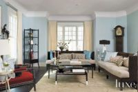 Blue Eclectic Living Room - Luxe Interiors + Design