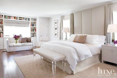 Contemporary White Bedroom with FloortoCeiling Headboard  Luxe Interiors  Design