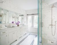 White Marble Master Bathroom with Mosaic Tile Floor Detail ...