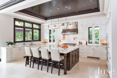 White Kitchen Cabinets With Light Gray Island Transitional Mahogany & White Kitchen - Luxe Interiors