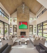 High Vaulted Ceiling Living Room with Stone Fireplace and ...