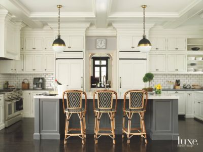 French Bistro Kitchen With Subway Tile Seated Island and