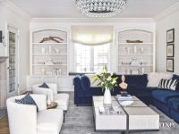 Color Pop Blue Velvet Sofa in White Living Room - Luxe ...